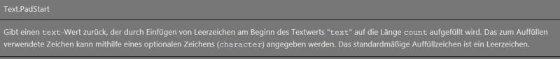 Beschreibung Text.PadStart