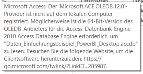 Fehlermeldung fehlender Accesstreiber