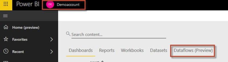 Menu item Dataflows in the work area Demoaccount