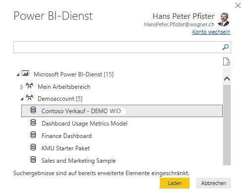 Wiederverwendung vorhandenes Power BI Datenset