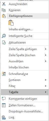 """Kontextmenü """"Tabellen"""""""