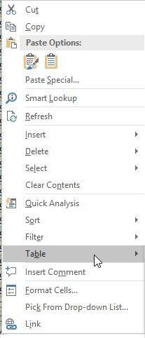 """Context menu """"Tables"""""""