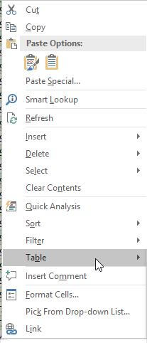 "Context menu ""Tables"""