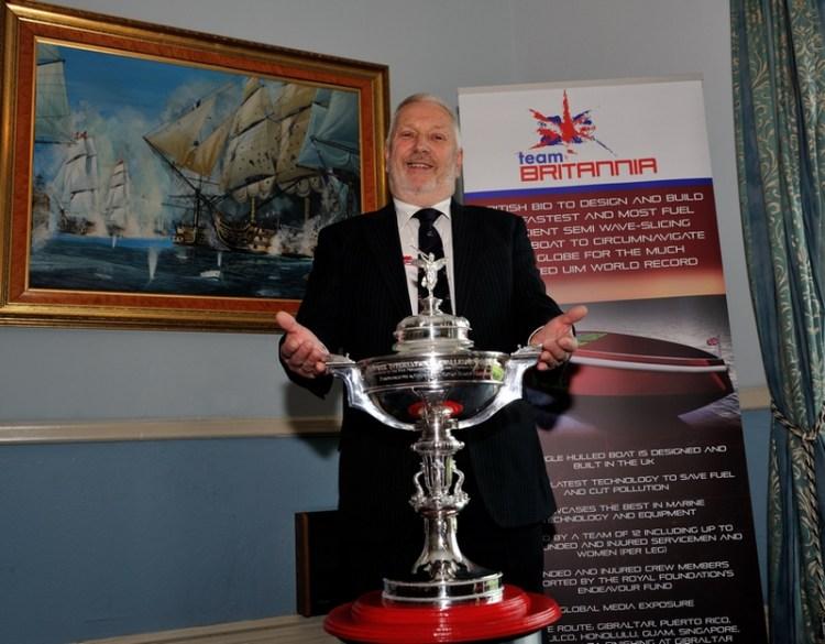"Alan Priddy from Team Britannia with the ""Dupree International Challenge Trophy"". Photo: Davies/Team Britannia"