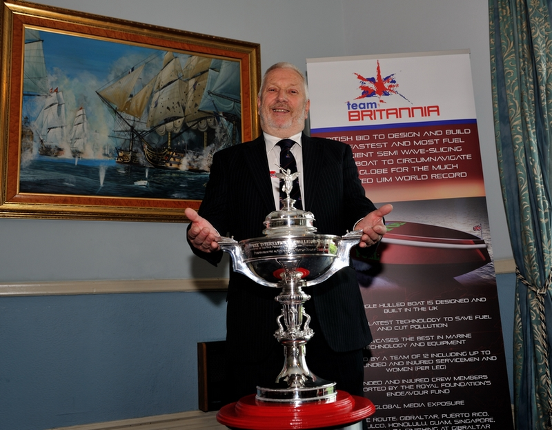 "Alan Priddy from Team Britannia with the ""Dupree International Challenge Trophy"". Photo: Davies/Team Britannia"