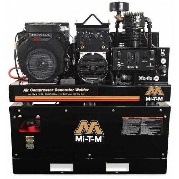 Mi-t- 20 Gallon Two Stage Honda Gas Air Compressor Generator Welder Combo Agw-sh22-20m