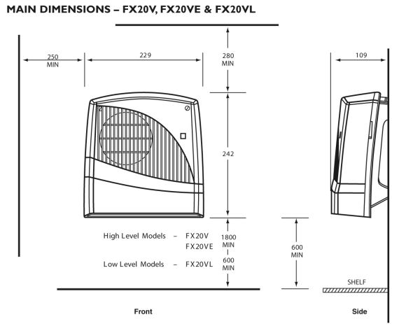Dimplex FX20VE Downflow Fan Heater IPX2 Rated with