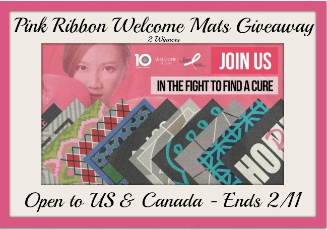 pink ribbon welcome mats button