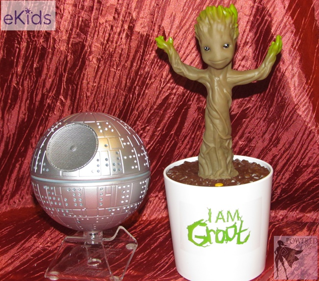Dancing Groot and Death Star Bluetooth speaker