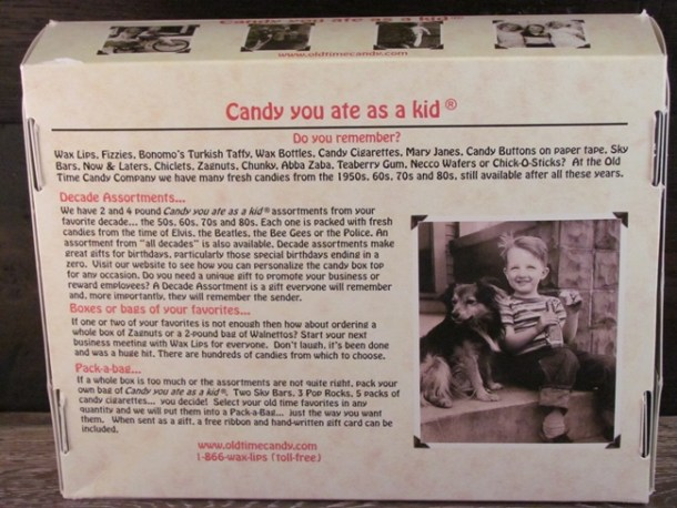 old time candy box back