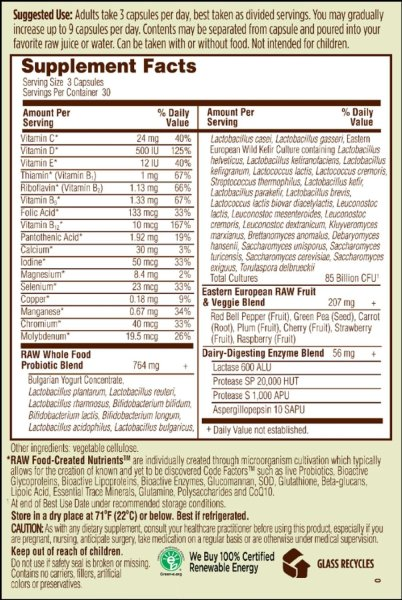 raw probiotics women label