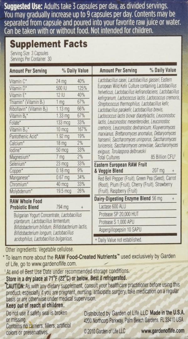 RAW probiotics label