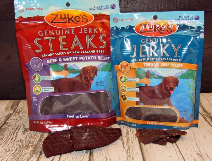 Zukes Jerky & steak treats open bag