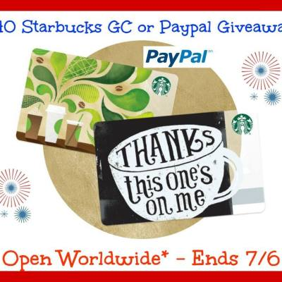 $40 Starbucks Gift Card or Paypal Cash Giveaway