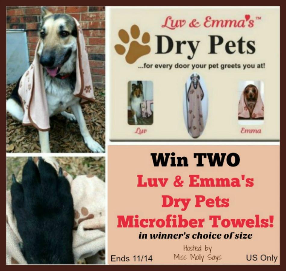 Luv & Emma's Dry Pets Super Absorbent Microfiber Towel giveaway