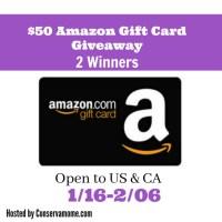 $50 Amazon Gift Card Giveaway! 2 Winners!