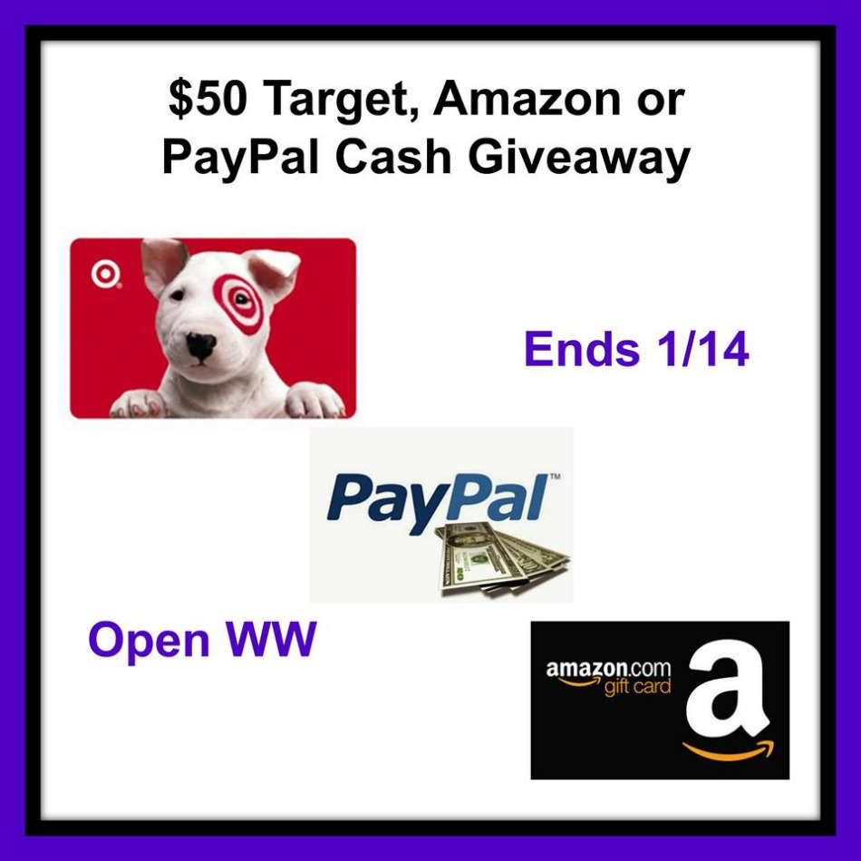 $50 Target, Amazon or Paypal Cash Giveaway!
