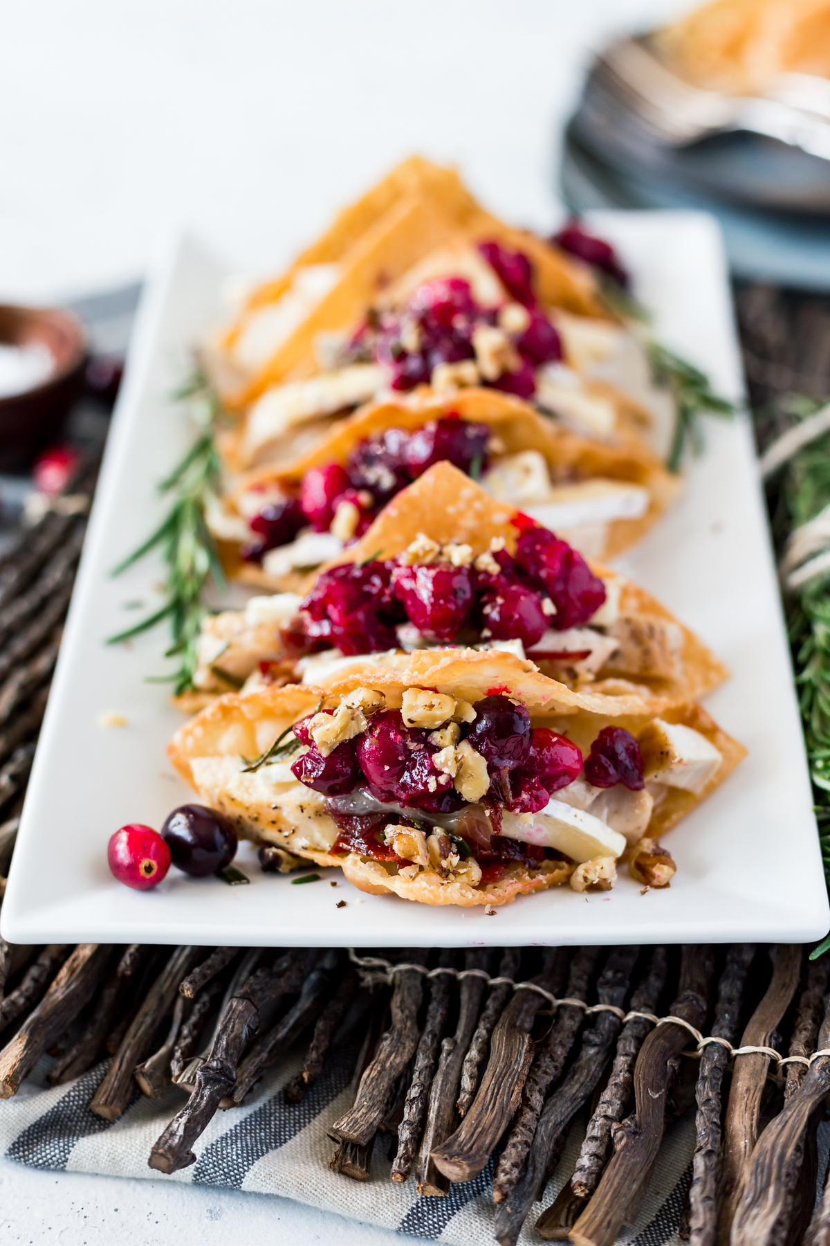 Cranberry Brie Chicken Wonton Tacos