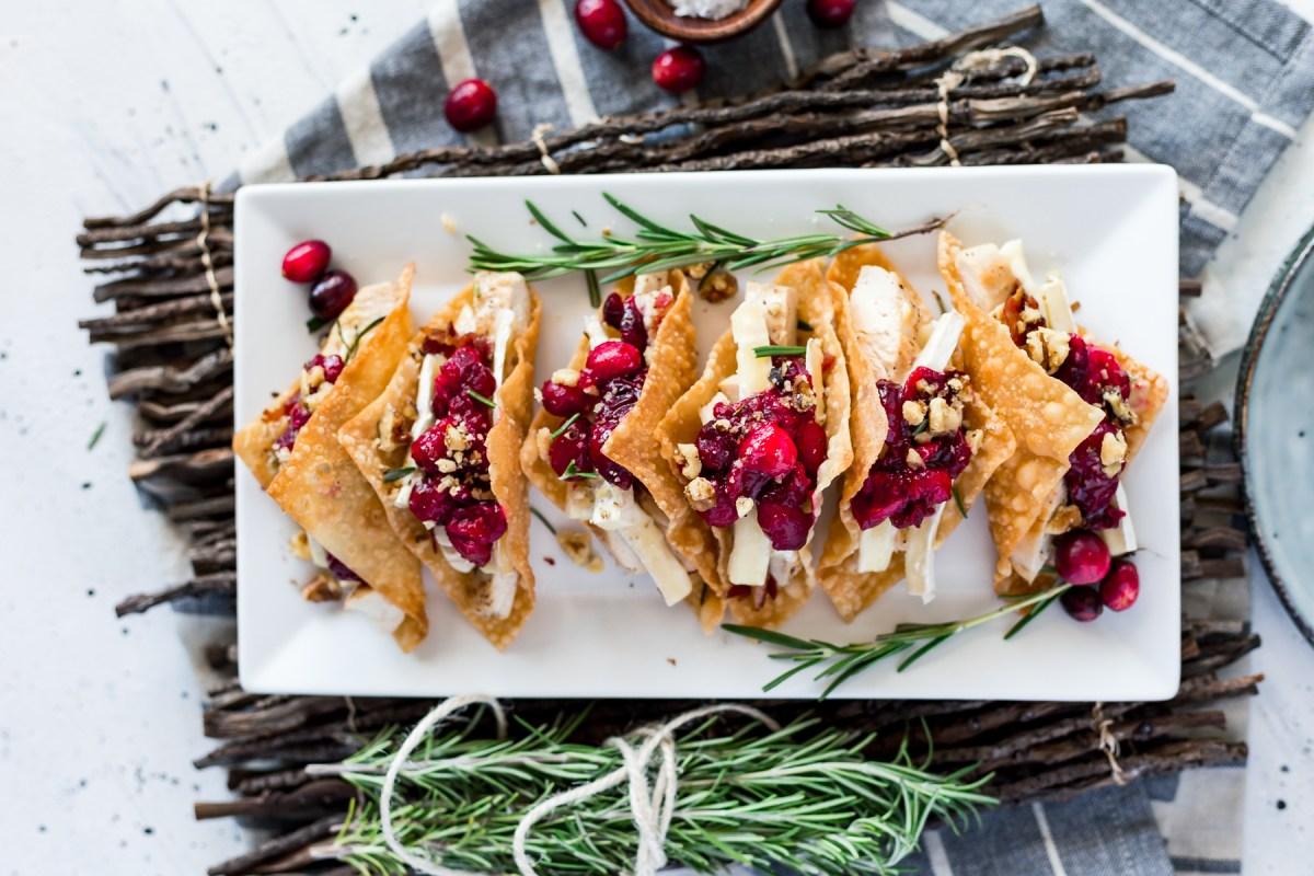 Cranberry Brie Chicken Wonton Tacos