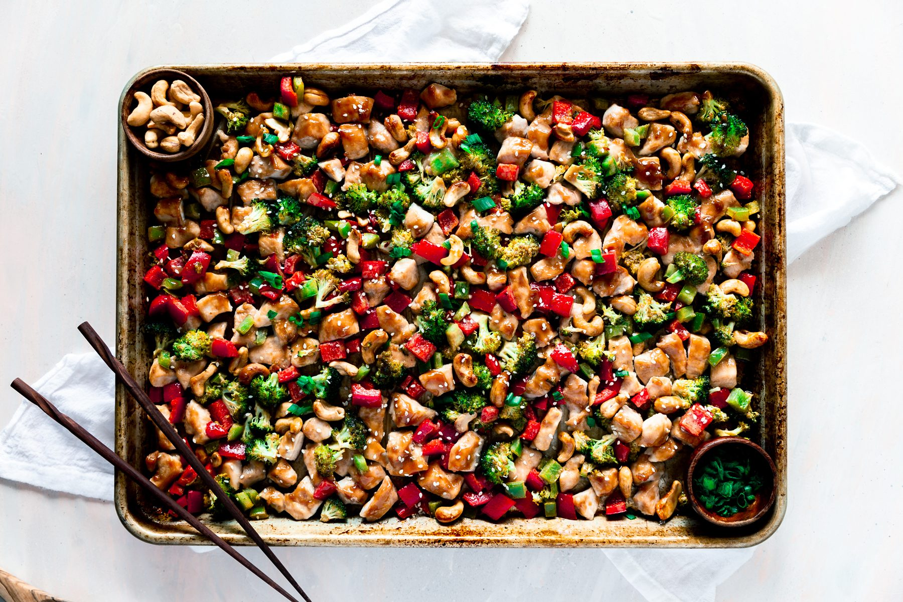 sheet pan dinner cashew nut chicken with vegetables