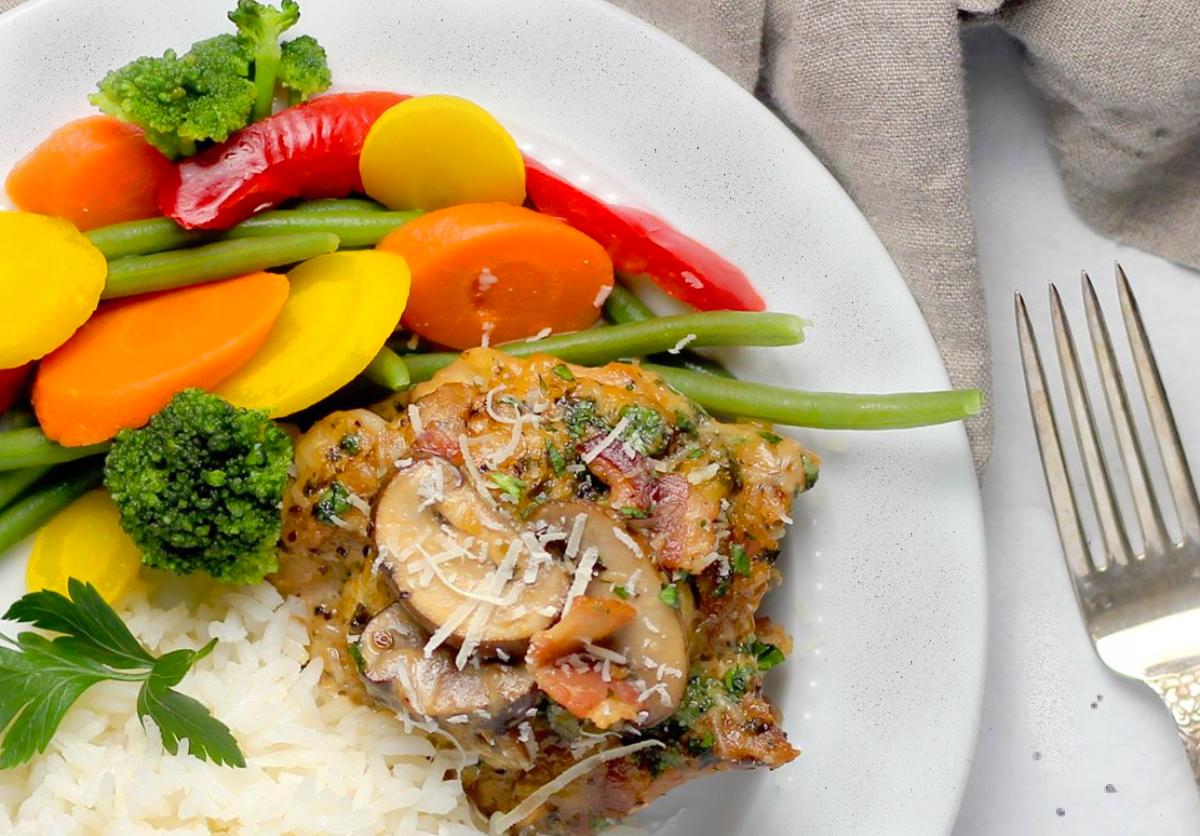 Chicken recipe, chicken, chicken parmesan, Parmesan Cream Sauce Chicken, Bacon and Mushroom Skillet