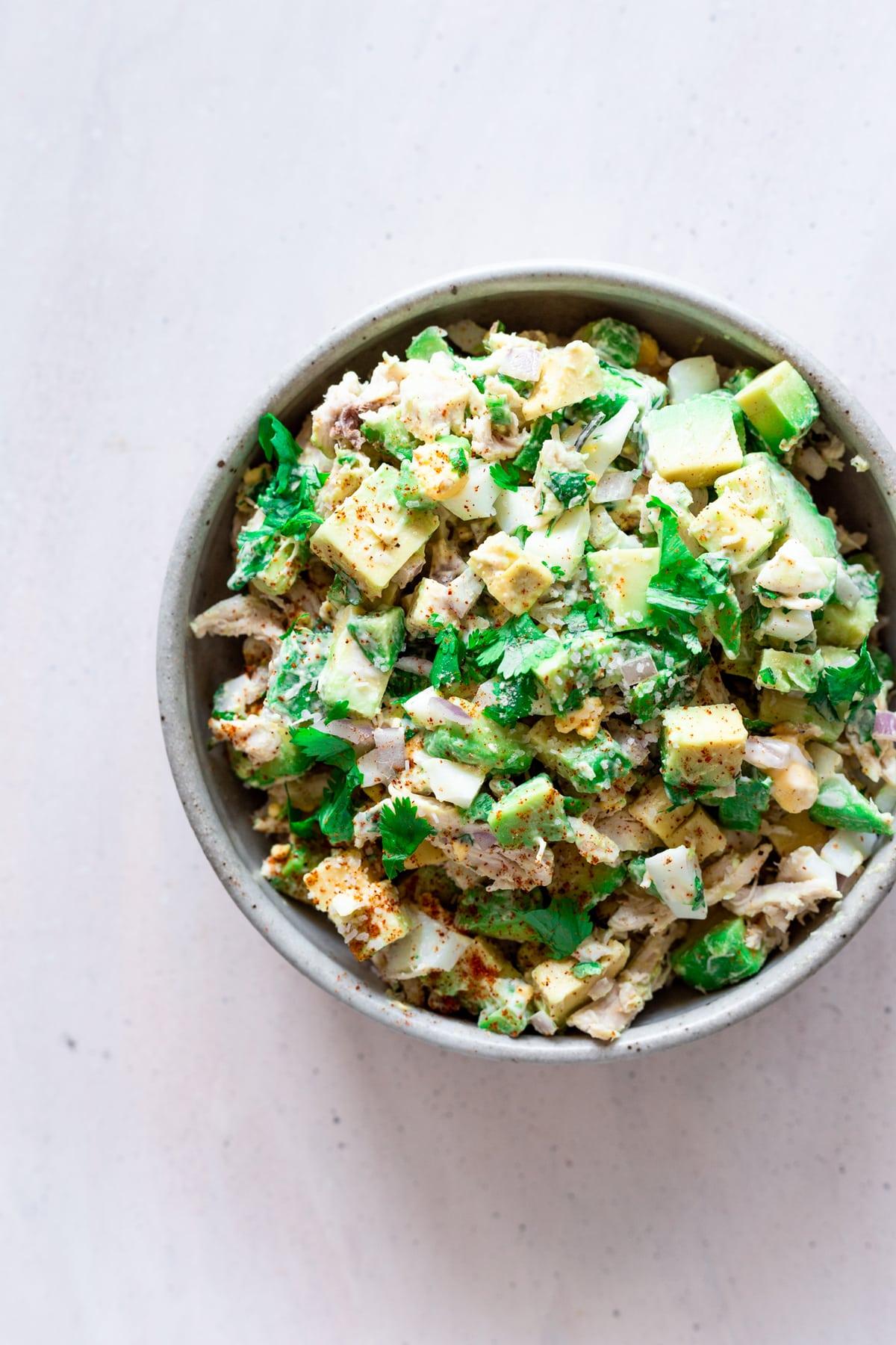 healthy chicken salad with avocado