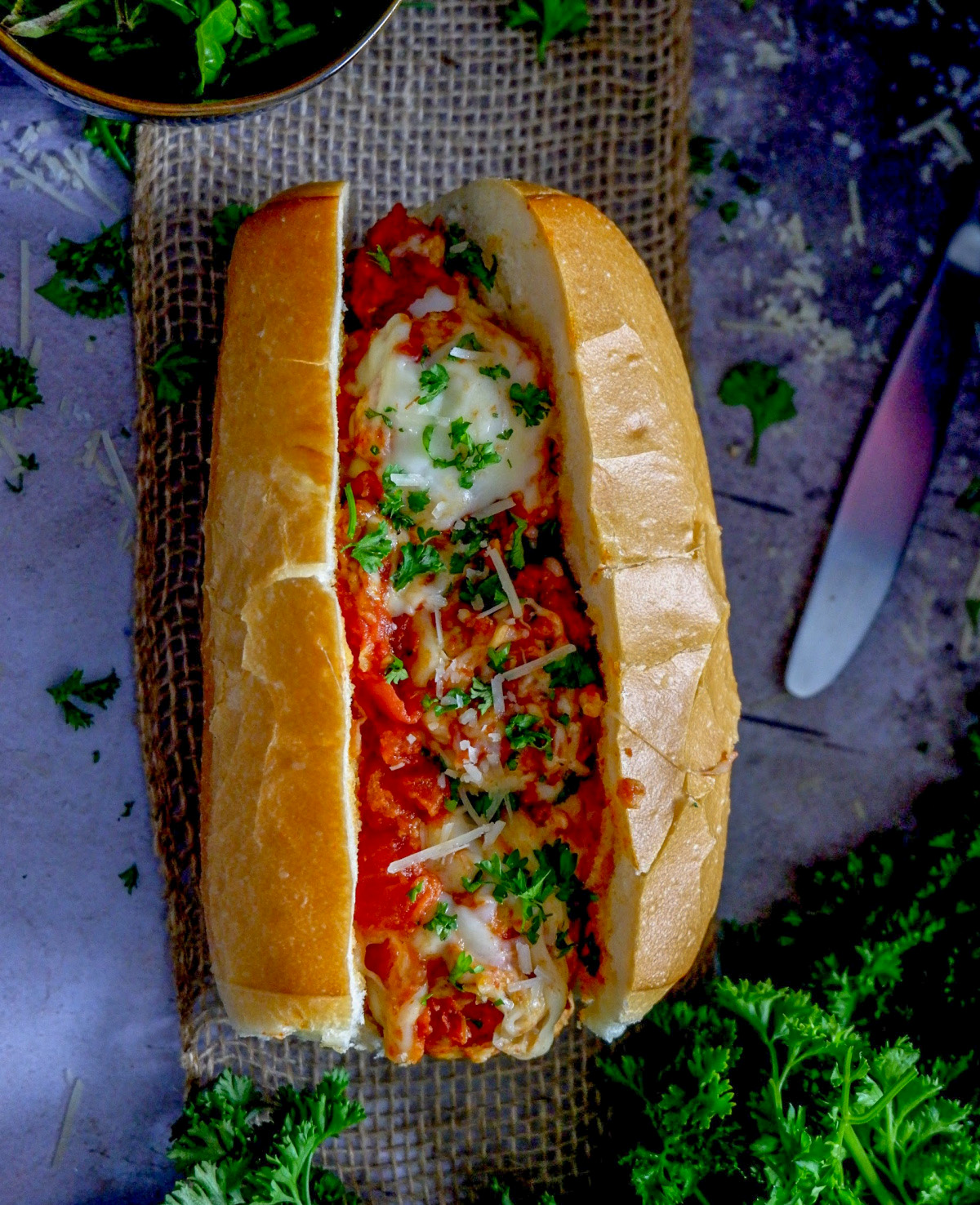 slow cooker chicken meatballs sandwich