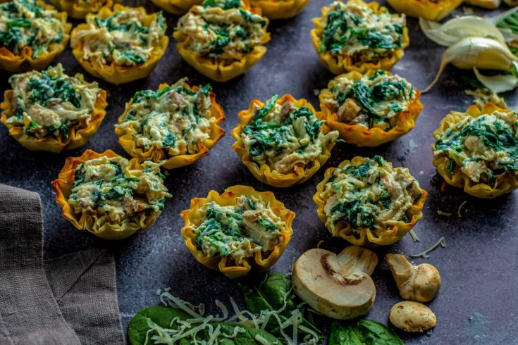 Chicken Phyllo Cup Appetizers with Spinach & Mushrooms