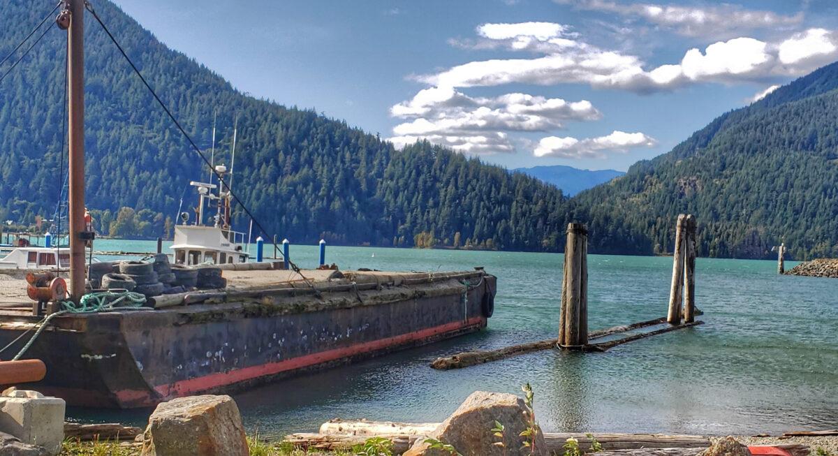 Harrison Lake, British Columbia with abandoned ship