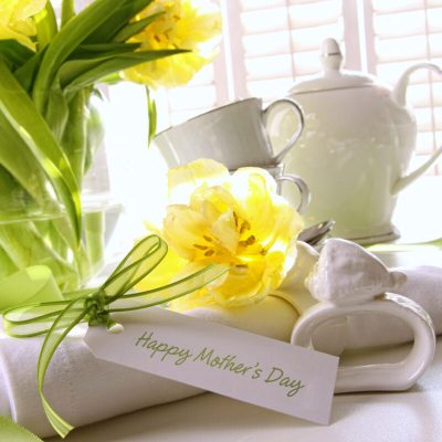 mothers day morning with flowers and tea