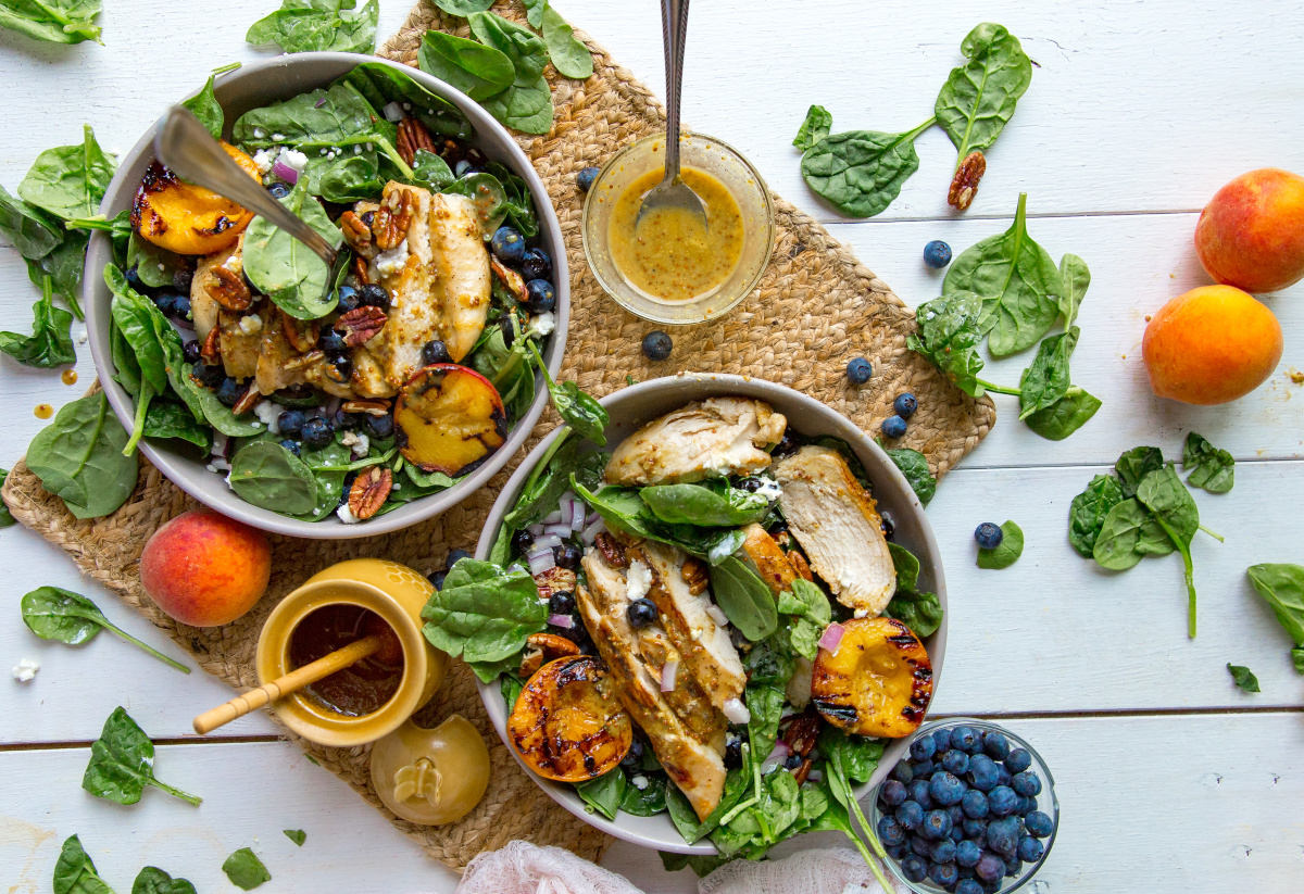 Chicken and Grilled Peach Salad with Honey Mustard Dressing