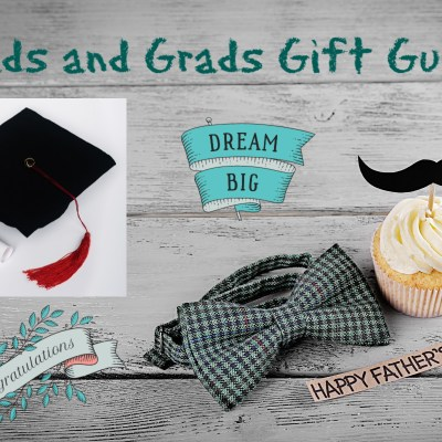 dads and grads gift guide with cap, bow tie, cupcake and congratulations