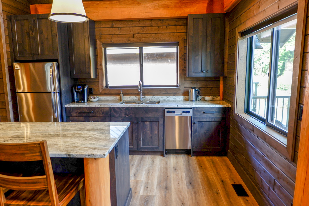 kitchen in the 2br luxury cabins
