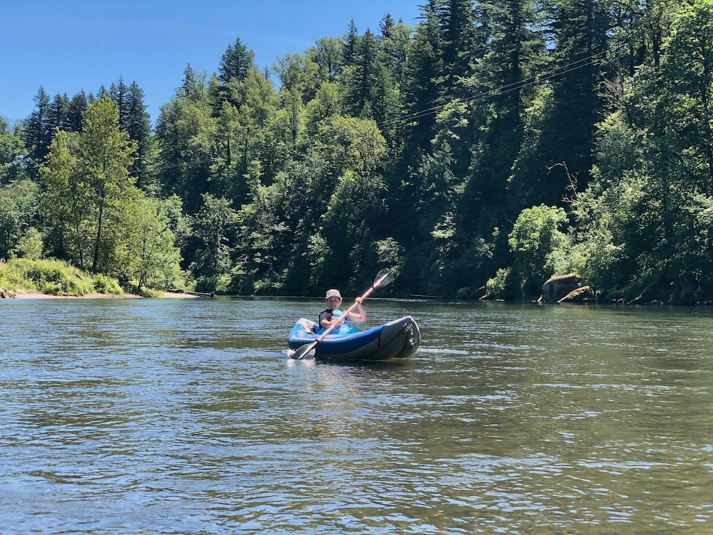 kayaking Sandy River in summer