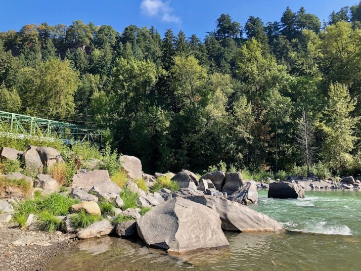 Sandy River rocks at Glenn Otto - one of the best times to visit Portland