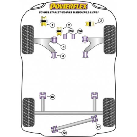 Powerflex für Toyota Starlet/Glanza Turbo EP82 & EP91