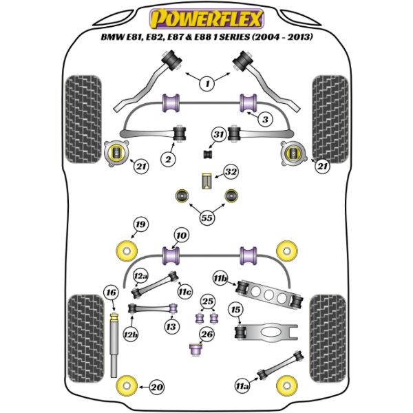 Powerflex Buchsen BMW E81, E82, E87 & E88 1 Series (2004