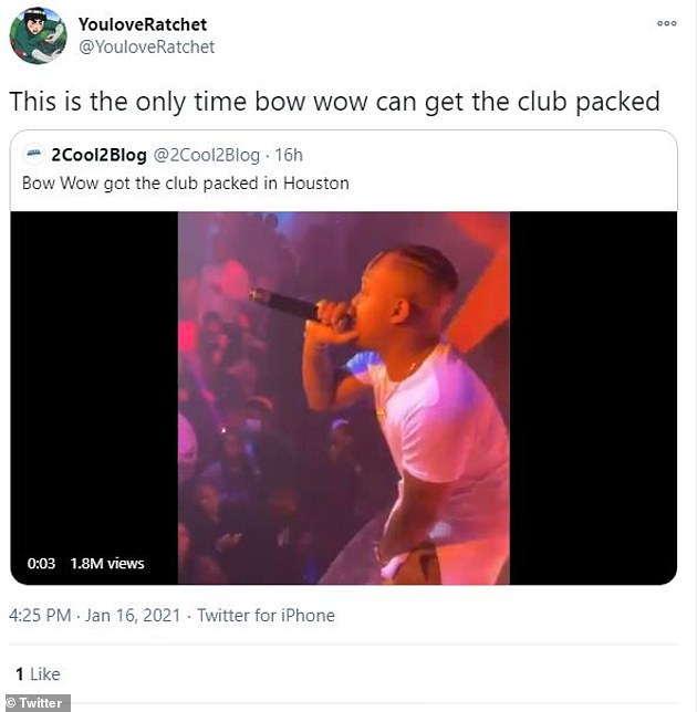 Packed: 'This is the only time bow wow can get the club packed,' one user wrote