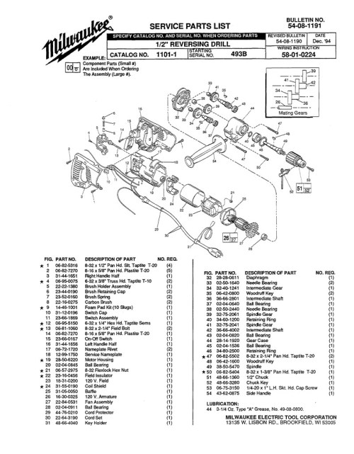 small resolution of parts for 1101 1 ser 493b powerhouse distributing milwaukee drill replacement switch wiring milwaukee drill switch wiring diagram