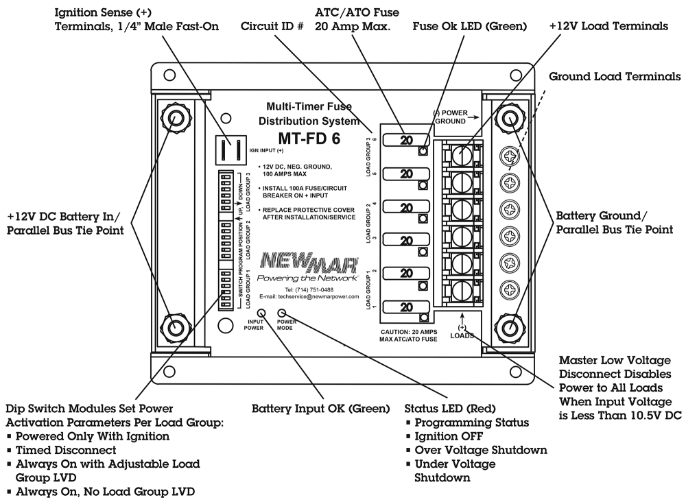 medium resolution of newmar powering the mobile network with the multi timer and fuse distribution system model mt