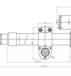 satellite dish actuator heavy duty type outline drawing [ 1867 x 767 Pixel ]