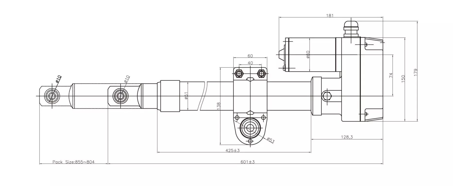 hight resolution of satellite dish actuator heavy duty type outline drawing