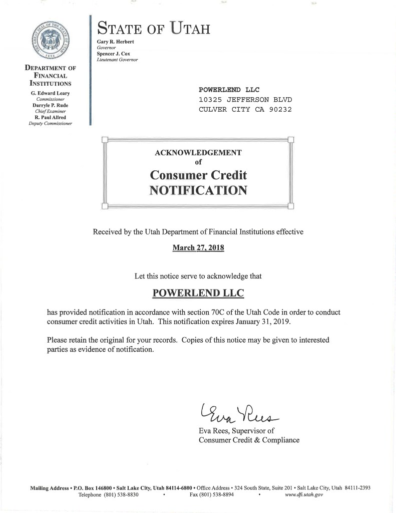 PowerLend Utah Business License