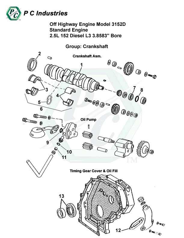 Off Highway Engine Model 3152d Standard Engine 2.5l 152