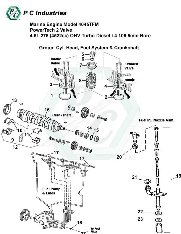Marine Engine Model 4045tfm Powertech 2 Valve 4.5l 276