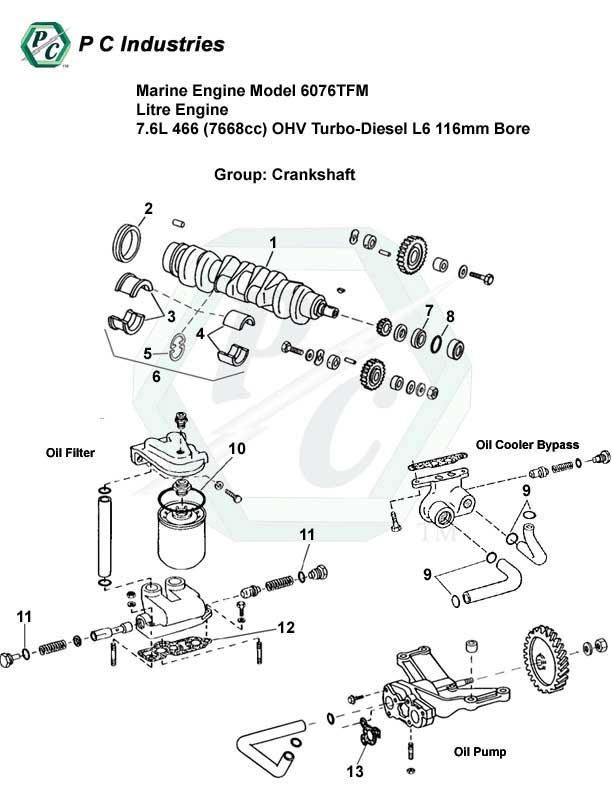 Marine Engine Model 6076tfm Litre Engine 7.6l 466 (7668cc