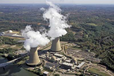 The Beaver Valley nuclear power plant, USA. Almost half of American reactors have undergone  maintenance to boost performance, often carried out alongside work to extend the reactors working lives.