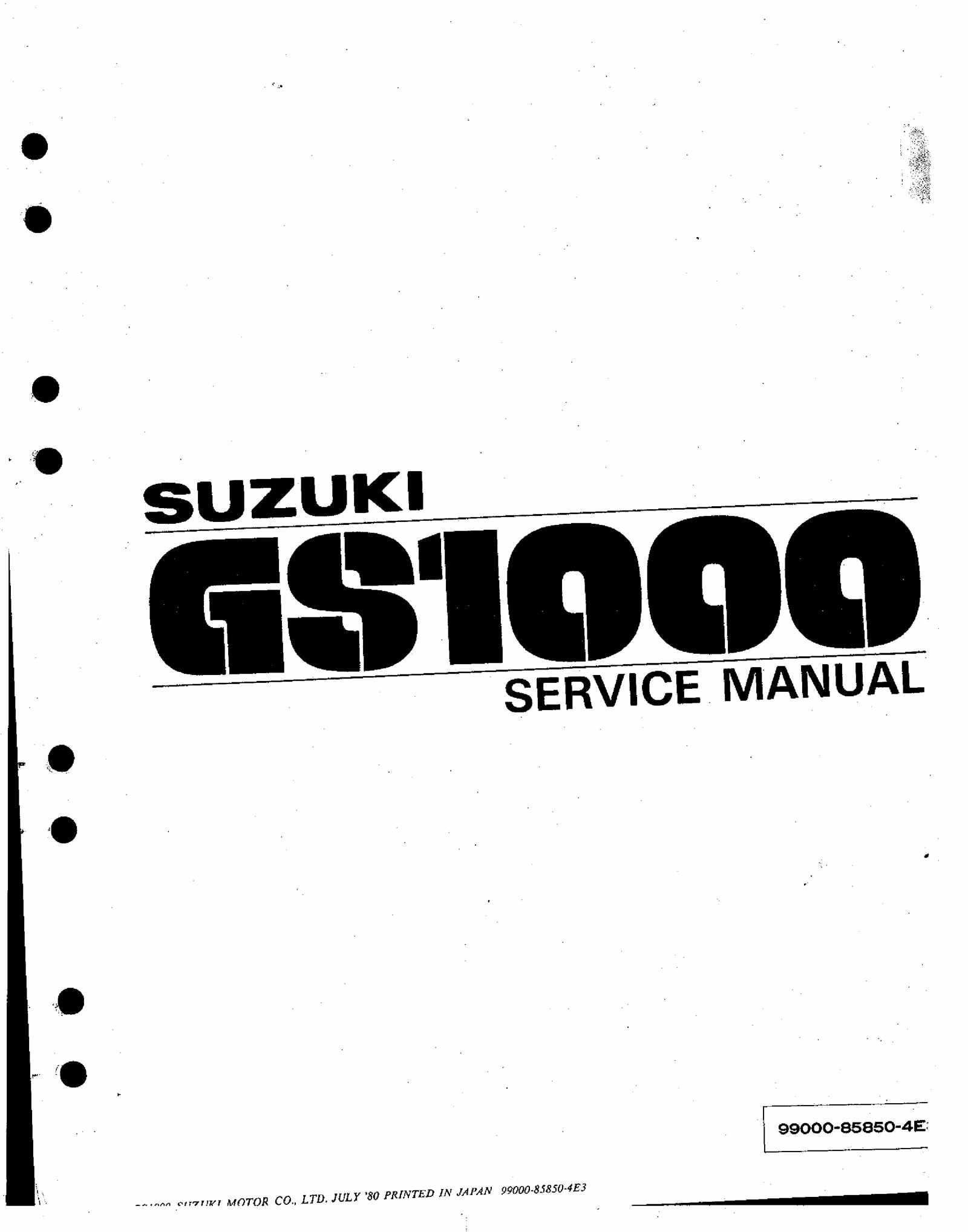 Suzuki GS1000 1980 Service Manual Free Download