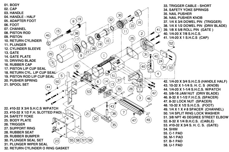 Powernail Model 200 Schematic and parts list