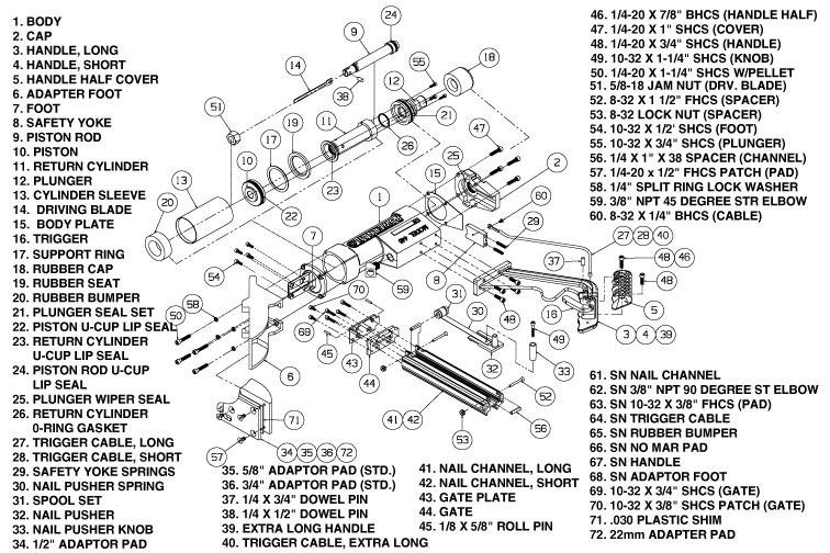 Powernail 445 Parts & Schematic